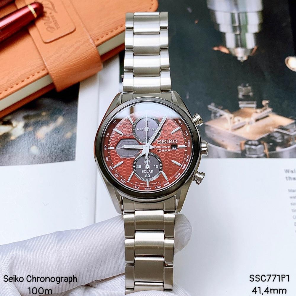 Đồng Hồ Seiko Solar Romantic Red SSC771P1 Dây Kim Loại Bạc Mặt Đỏ Size 41mm Chronograph Chính Hãng